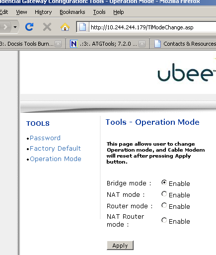 Putting the UBEE Cable Modem from Time Warner in Bridge Mode